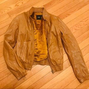ASOS Brown Leather Motorcycle Jacket Size Small